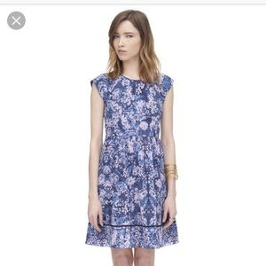 Rebecca Taylor Silk Navy Kiku Print Floral Dress